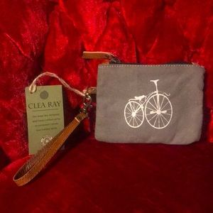 Clea Ray recycled wristlet bag